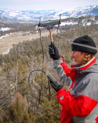 20100328-Regina tracking wolves in Yellowstone_1